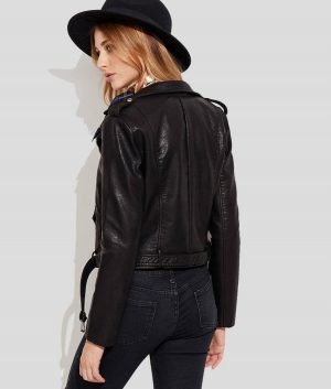 Lauren Womens Genuine Leather Black Biker Jacket