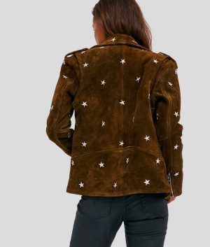 Lavern Womens Brown Studded Suede Jacket