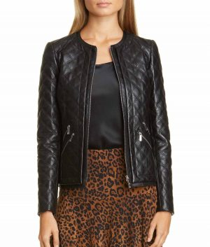 Linda J Womens Quilted Leather Jacket