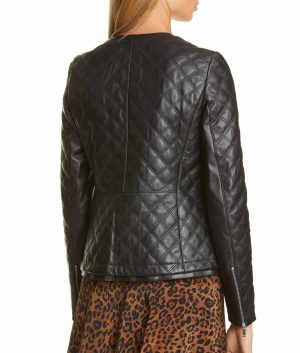 Linda J Womens Diamond Quilted Leather Jacket