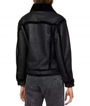 Linda Womens Flap Collar Black Shearling Jacket