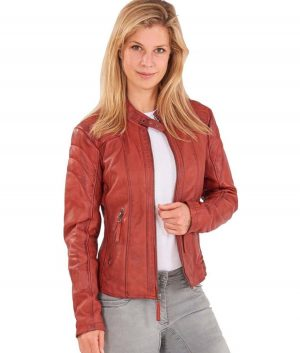 Linda Womens Distressed Leather Jacket