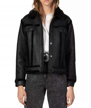 Linda Womens Black Shearling Jacket