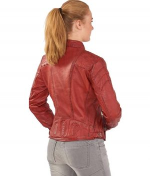 Linda Womens Distressed Leather Red Cafe Racer Jacket