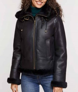 Linda Womens Sheepskin Jacket with Detachable Hood