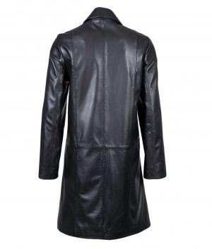 Linda Womens Long Leather Trench Coat In Black