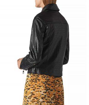 Lorenza Womens Croc Debossed Leather Biker Jacket