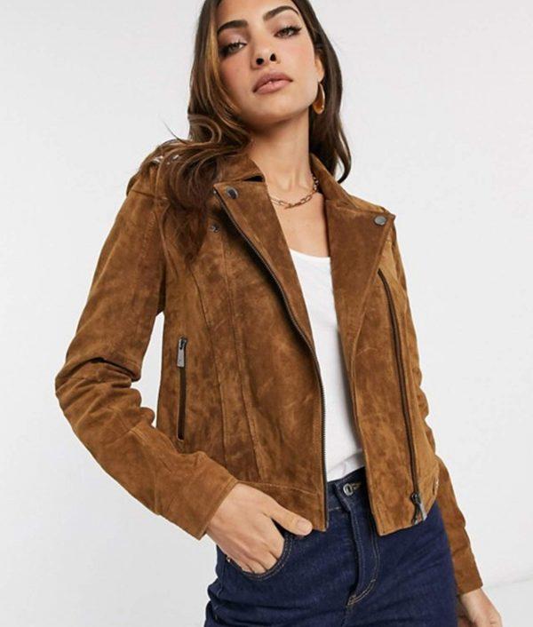 Louann Womens Tan Suede Leather Biker Jacket