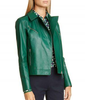 aggie Womens Leather Moto Jacket