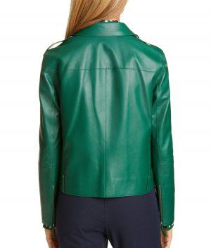 Maggie Womens Elm Green Leather Moto Jacket