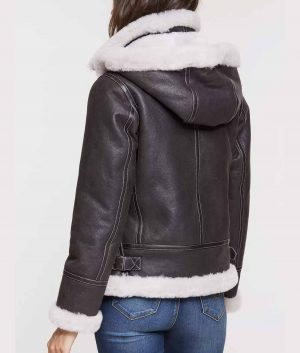 Margaret Womens Sheepskin B-3 Jacket with Detachable Hood
