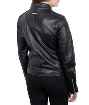 Maria Womens Black Leather Cafe Racer Jacket