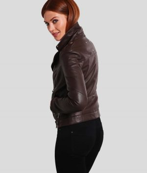 Marianne Womens Brown Leather Biker Jacket