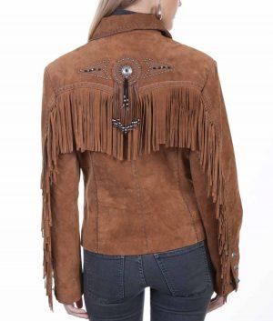 Monica Womens Western Style Suede Jacket