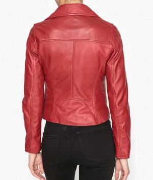 Monique Womens Leather Red Jacket