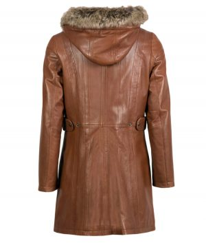 Myrtle Womens Hooded Leather Coat