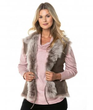Natalie Womens Gilet In Taupe