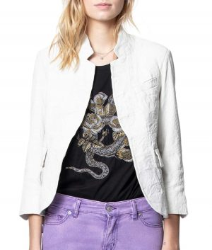 Nicole Womens Rumple Leather Blazer