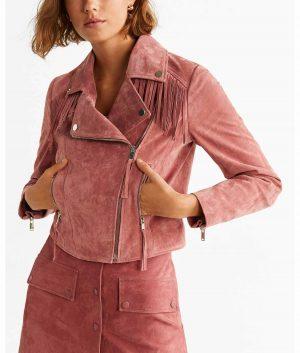 Octavia Womens Biker Style Fringe Jacket