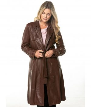 Ofelia Womens Long Leather Trench Coat In Pecan Brown