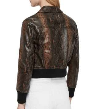 Patricia Womens Snake Print Leather Bomber Jacket