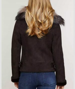 Peggy Womens Sheepskin Bomber Jacket with Detachable Fur Collar