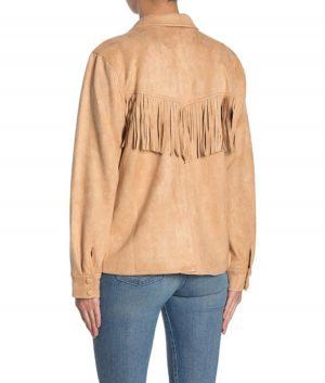 Rhonda Womens Notch Lapel Faux Suede Jacket