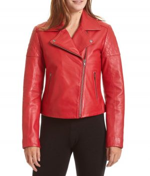 Ronda Womens Moto Style Red Jacket