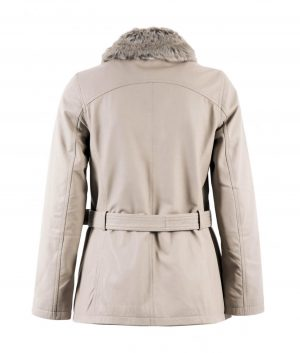 Rosa Womens Belted Leather Coat In Light Grey