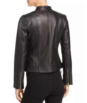 Sandra Womens Wing Collar Black Leather Jacket