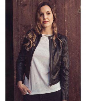 Sandra Womens Leather Cafe Racer Jacket In Black