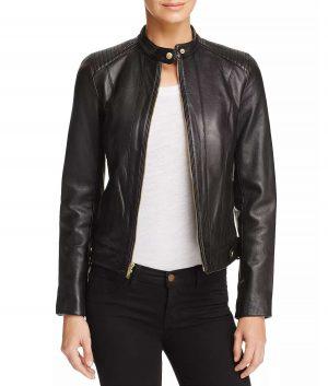 Sandra Womens Black Leather Jacket
