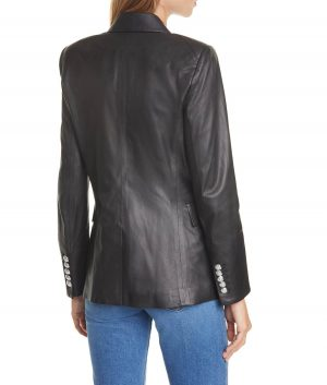 Sarah Womens Black Double Breasted Leather Blazer