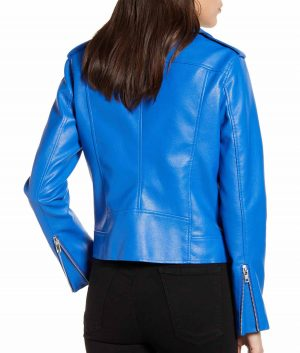 Sharon Womens Cobalt Blue Notched Collar Faux Leather Jacket