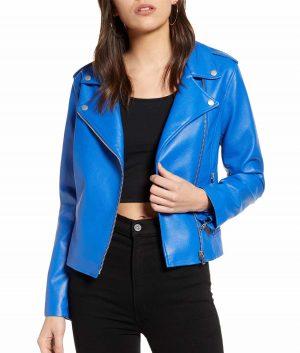Sharon Womens Cobalt Blue Leather Jacket