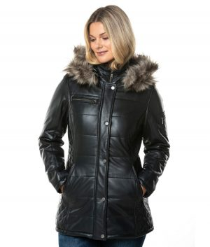 Sheri Womens Padded Hooded Leather Coat In Navy