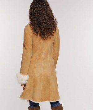 Sherry Womens Merino Shearling Sheepskin Coat with Toscana Trim