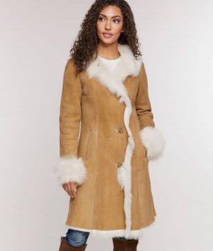 Sherry Womens Sheepskin Coat with Toscana Trim
