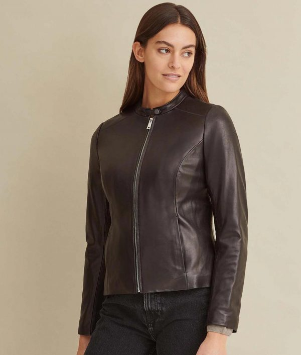 Susie Womens Classic Black Leather Jacket