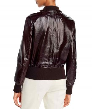 Theresa Womens Patent leather Bomber Jacket