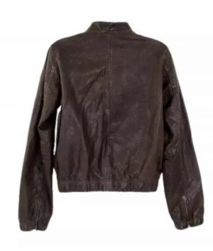 Wendy Womens Brown Leather Bomber Jacket