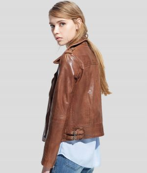Whitney Womens Brown Motorcycle Leather Jacket