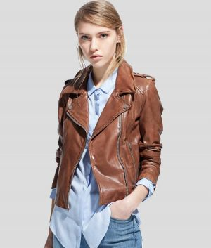 Whitney Womens Brown Leather Jacket