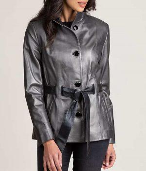 Yolanda Womens Flattering belted Leather Coat