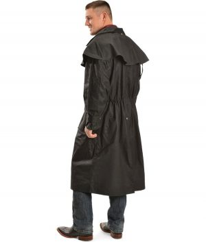Alfonso Mens Long Duster Leather Coat