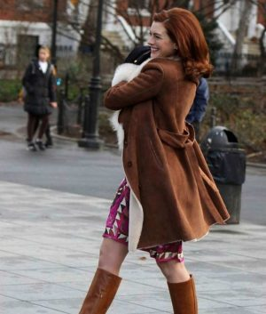 LexiAnne Hathaway Brown Suede LeatherModern Love Coat With Fur Collar