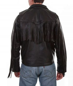 Antonio Mens Fringe Lambskin Leather Motorcycle Jacket