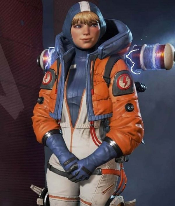 Apex Legends Season 02 Orange and Blue Cropped Wattson Jacket With Hood