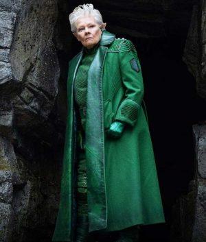Judi Dench Artemis Fowl Green Leather Commander Root Coat