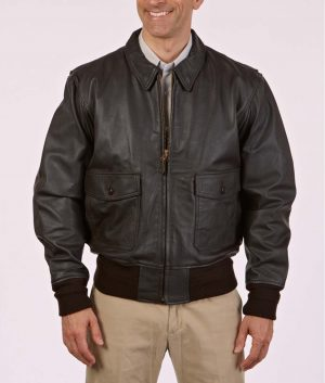 Barney Mens Modern Leather A-10 Flight Bomber Jacket